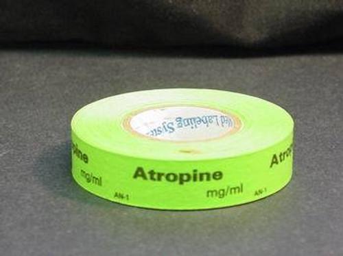 TAPE SYRINGE ATROPINE 1.5 x 0.5in GREEN RL/333 175-AN-1