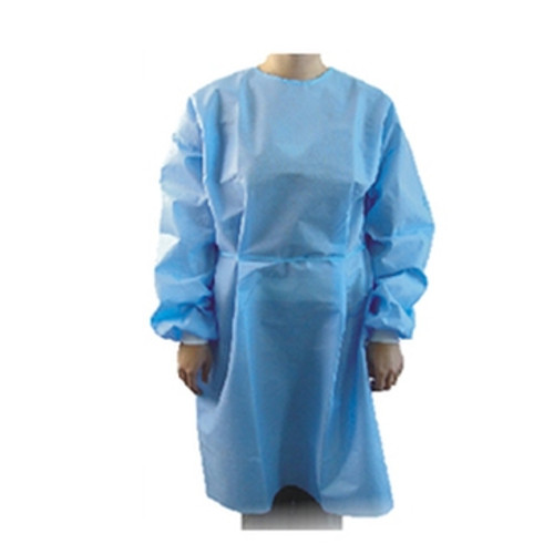 Belpro IG-28B ISOLATION GOWN BLUE NON-WOVEN PLASTIC w/KNITTED WRIST/TIES, CA/50