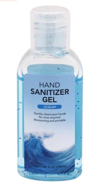 MINISO Travel Size Hand Sanitizer Gel, 62% Ethyl Alcohol, 50ml Bottle, Ocean, Case/12, Case