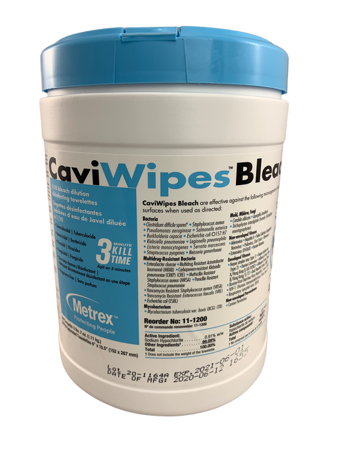 "Metrex 11-1200 CaviWipes Bleach 6"" x 10"", 90 wipes/canister, Each"