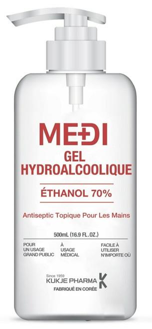 KUKJE Pharma MEDI Gel Ethanol 70% Antiseptic Hand Sanitizer, 500ml/bottle, Box/6