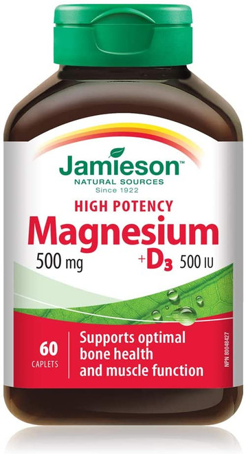 Jamieson MAGNESIUM + D3 500MG,60 CAPSULE