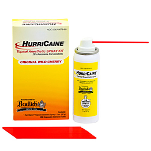 BEUTLICH HURRICAINE TOPICAL ANESTHETIC SPRAY KIT 2oz CAN w/200 EXTENSION TUBES (0690-679-02) (HURRICAINE 0690-679-02)