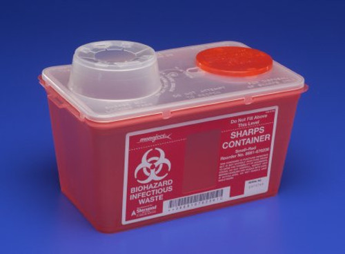 Covidien 8881676236 Sharps-A-Gator Sharps Container, Chimney Top, 3.8L 4 quart, Red