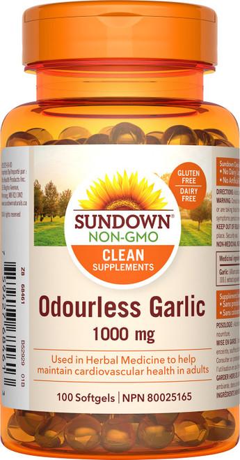 Sundown Naturals 800903 ODORLESS GARLIC 1000MG, 100 CAPSULES