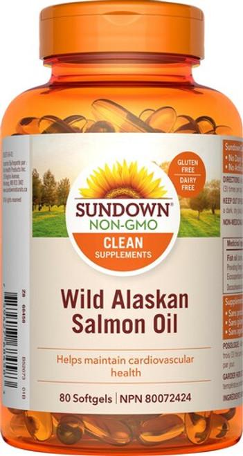 Sundown Naturals 800898 WILD ALASKAN SALMON OIL, 80 CAPSULES