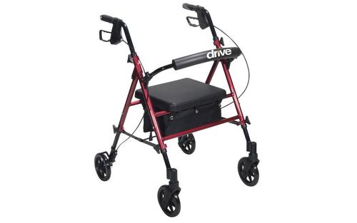 "Adjustable Height Rollator 6"" Wheels Red - RTL10261RD"