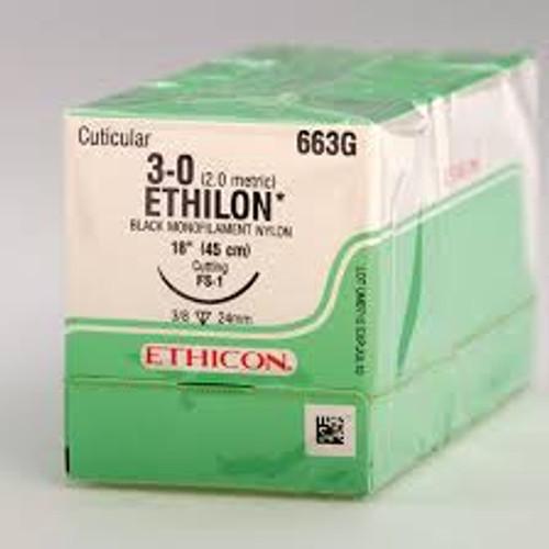 "Johnson & Johnson 663G SUTURE 3-0 NYLON MONO 18"" WITH FS1 NEEDLE BLACK BX/12 (Johnson & Johnson 663G)"