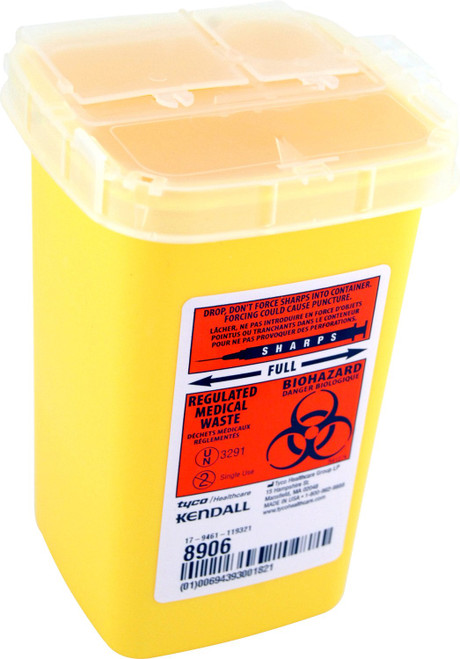 Kendall 8906-X PHLEBOTOMY SHARPS CONTAINER 1QT, YELLOW