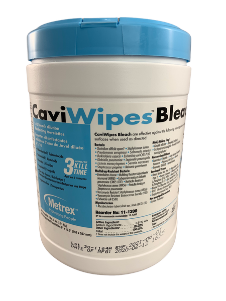 """Metrex 11-1200 CaviWipes Bleach 6"""" x 10"""", 90 wipes/canister, Each"""