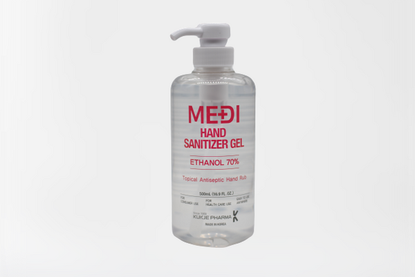 MEDI Medical Grade Topical Hand Sanitizer Gel, 70% Ethanol, Antiseptic Antibacterial Hand Rub, For Health Care Use, 500 ml, 500ml/bottle, Case of 12