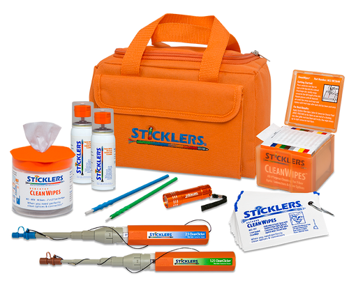 Deluxe High-Volume Fiber Optic Cleaning Kit Orange Bag