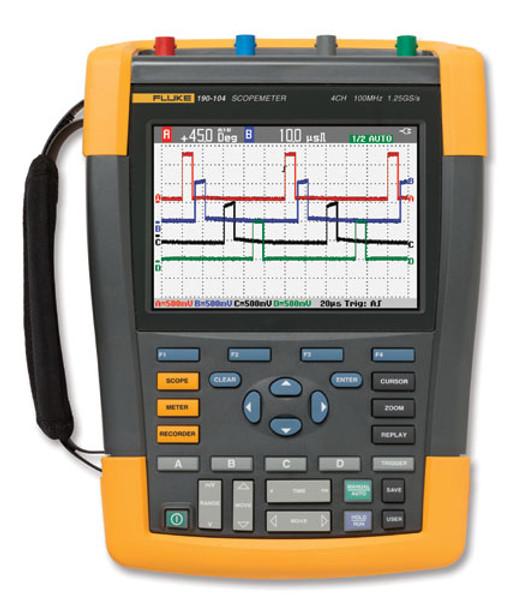 Fluke 190-104/AM/S ScopeMeter Ser II Oscilloscope 100MHz 4Ch SCC