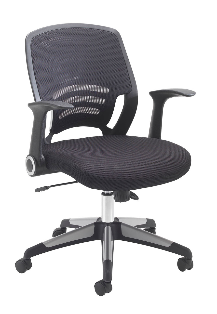 Carbon Low Back Office Chair With Unique Folding Arms Raja Workplace