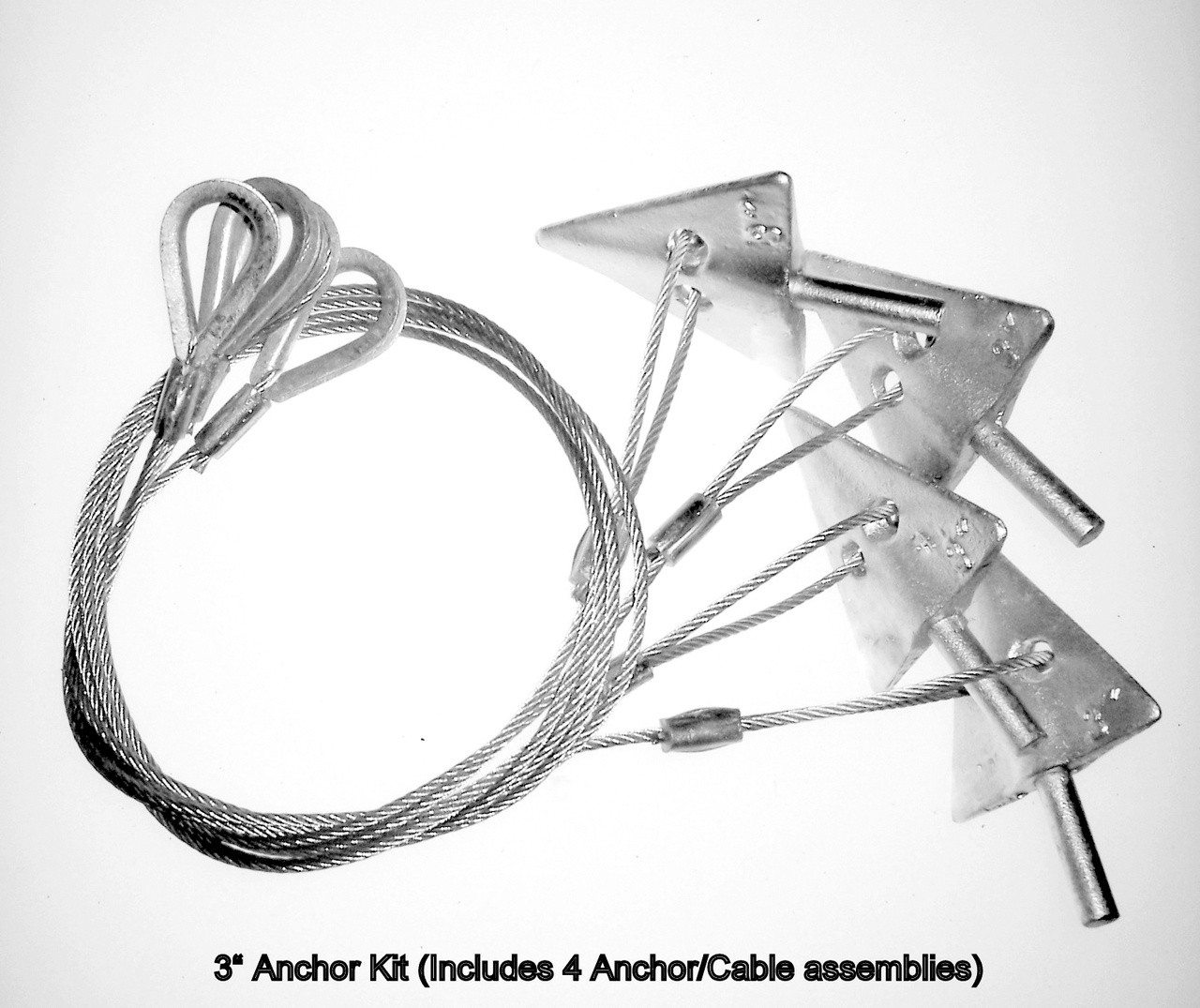 3'' Earth Anchor Kit - Includes 4- 3'' Anchor Assemblies