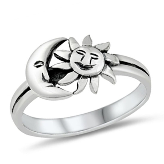 Quality 925 Sterling Silver Ring - Sun & Moon