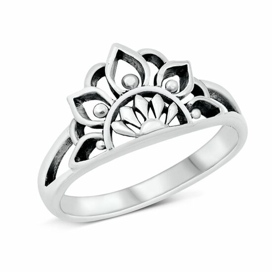 Quality 925 Sterling Silver Ring - Half Mandala