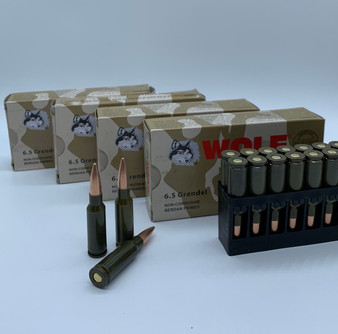 FREE SHIPPING! Wolf Military Classic - 6.5 Grendel - 110 Grain - Steel - Full Metal Jacket - 100 rounds