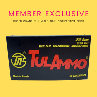 .......MEMBER EXCLUSIVE..... Tuesday Drop: TulAmmo .223 Rem, 100 Rounds