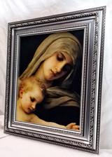 Virgin Mary & Child - Framed Artwork - Silver