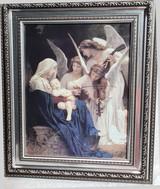 Mary, Jesus & Angels - Framed Artwork - Silver