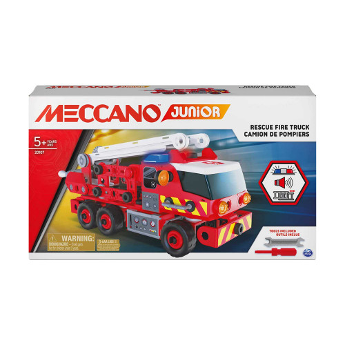 Meccano Junior Rescue Fire Truck Toy Vehicle Building Kit