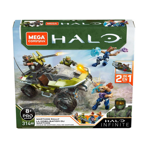 Mega Construx Halo Infinite Warthog Rally 2 in 1 Vehicle Building Kit + Figures
