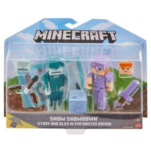 Mattel Mojang Minecraft Snow Showdown Stray and Alex Figures