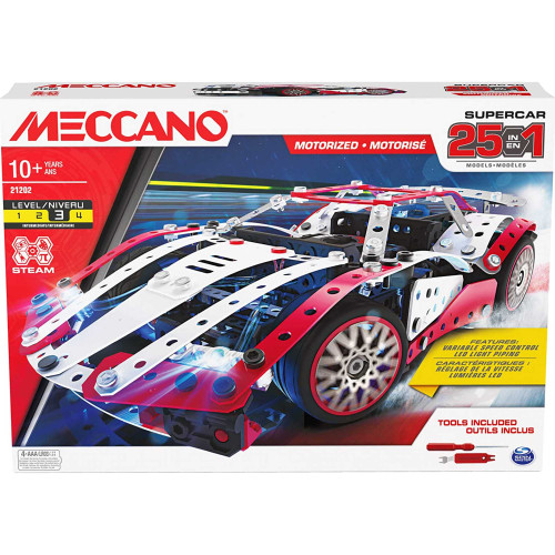 Meccano Supercar 25-in-1 Vehicle Building Kit 21202
