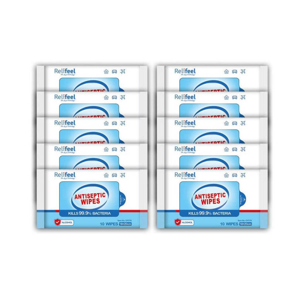 10x 10pk Relifeel Cleaning Surface Multipurpose Anti-Septic Wipes