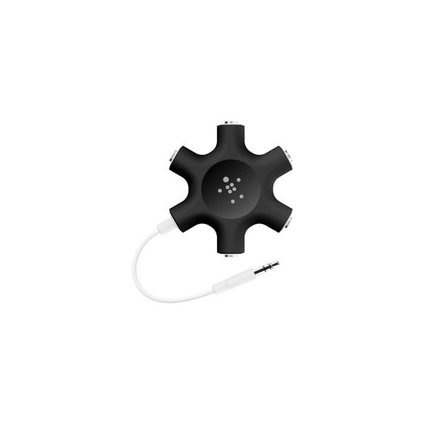 Belkin Rockstar Headphone Audio Splitter AUX 3.5mm 5 Jack - Black