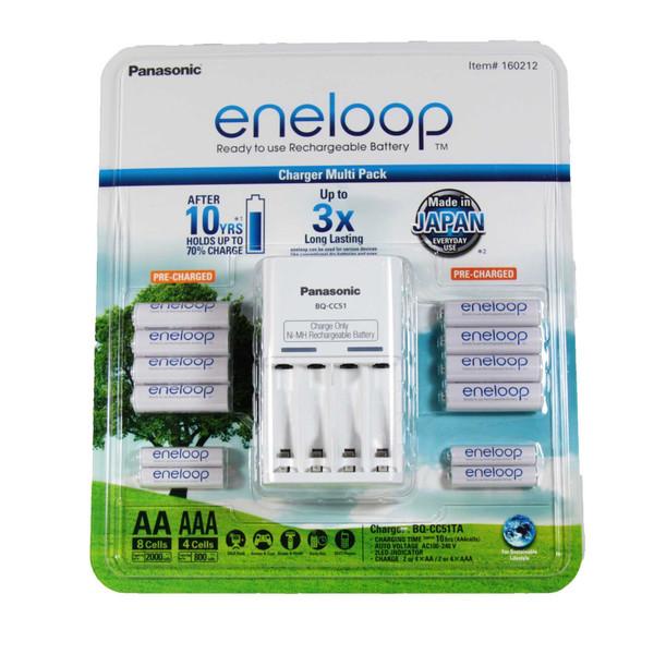 Panasonic Eneloop Rechargeable Battery Pack 1 x Charger + 8x AA + 4x AAA