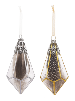 Prism Glass Feather Ornaments