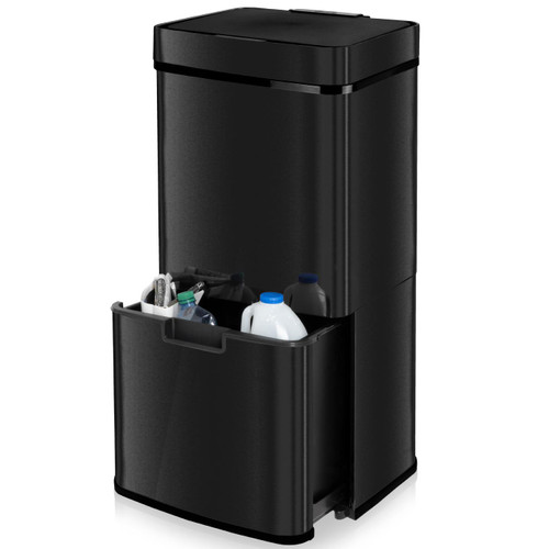 75L Black Steel Multi-compartment Recycling Automatic Sensor Bin