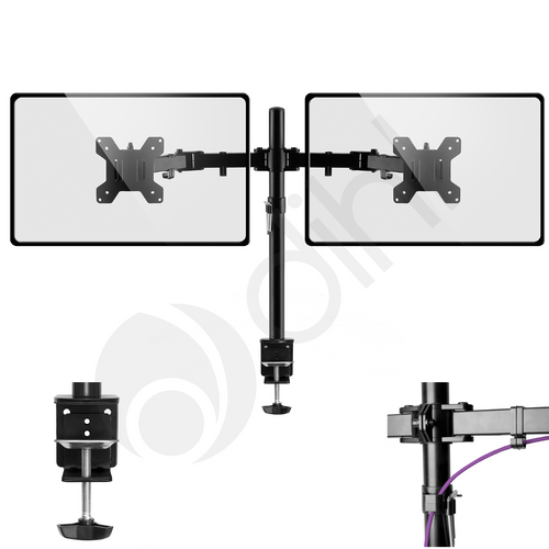 "Double Arm Desk Monitor Mount for 13""-27"""