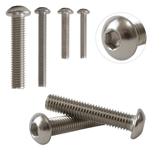 A2 Stainless Steel Hexagon Socket Button Head Bolts Screws M4 4mm ISO7380