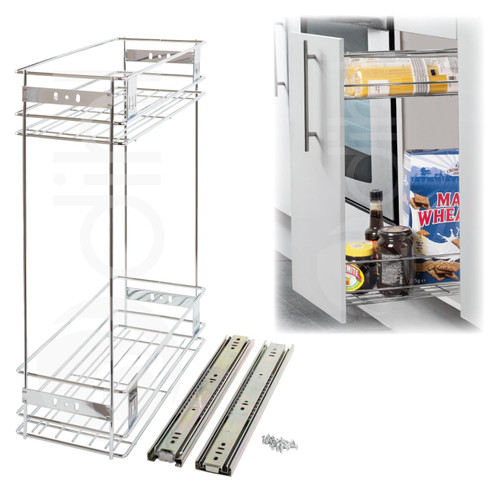 200mm Pull Out Wire Basket Kitchen Larder Base Unit Cupboard Drawer Storage