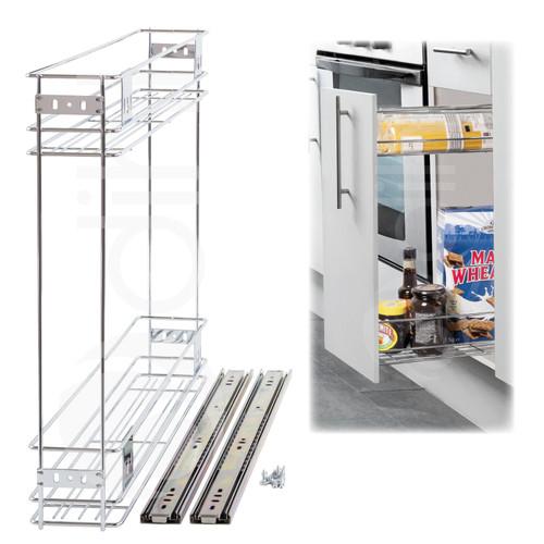 150mm Pull Out Wire Basket Kitchen Larder Base Unit Cupboard Drawer Storage