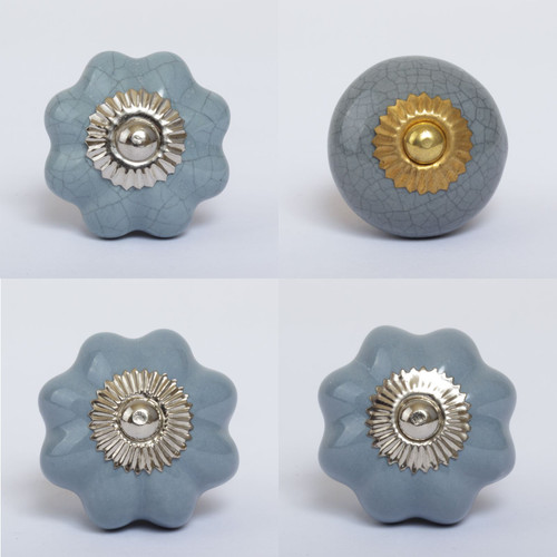 Mix of Silver & Grey Ceramic Knobs
