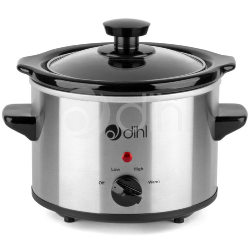 Dihl Slow Cooker 1.5L Removable Ceramic Pot Bowl Glass Lid Stainless Steel