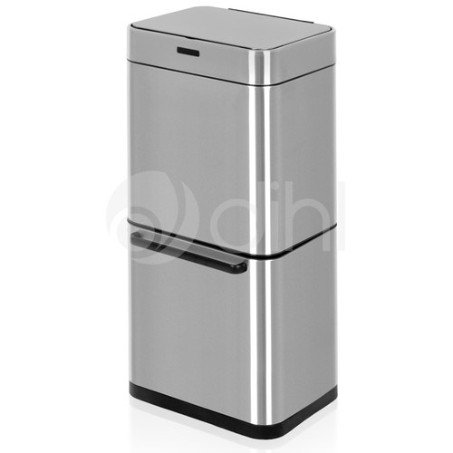 50L Stainless Steel Multi-compartment Dual Recycling Automatic Sensor Bin