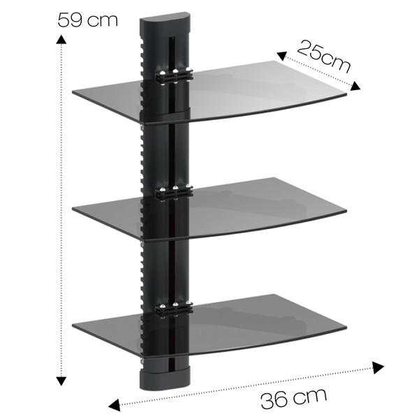 Triple Glass DVD Console Shelf
