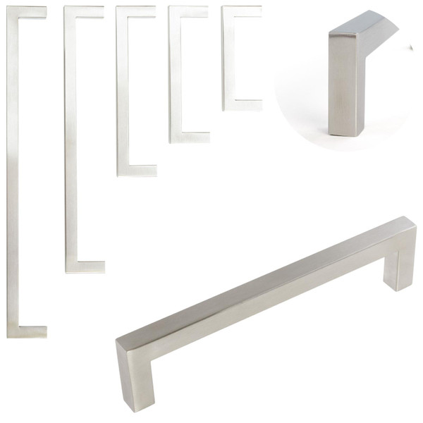 Brushed Steel Square Furniture Door Handles