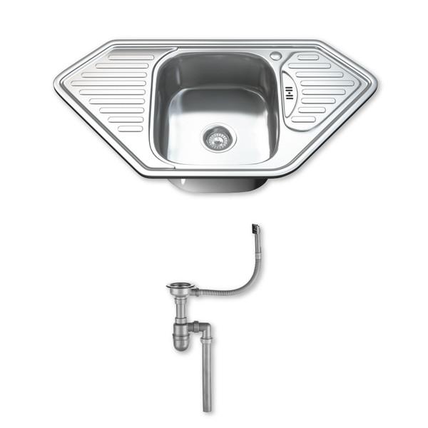 1.0 Single Corner Bowl Kitchen Sink with Waste