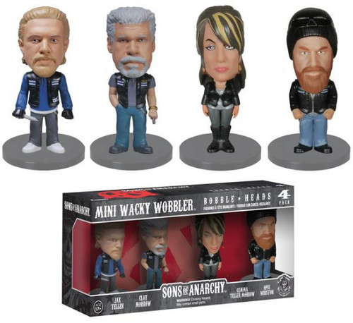 SONS of ANARCHY 4pc MINI Wacky Wobler SET
