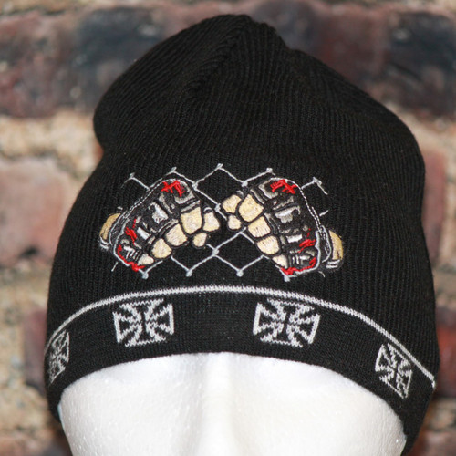 MMA Cage fighter Iron Cross Knit beanie skull board cap