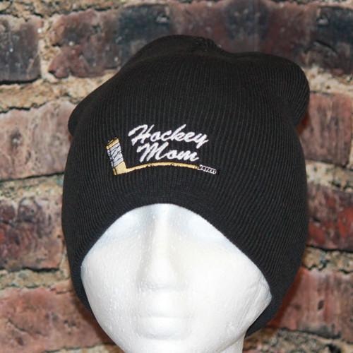Hockey Mom with embroidered stick logo Black Beanie Toque