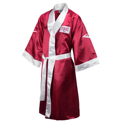 Everlast boxing robe. Wide sleeve opening to allow for easier on-and-off. Increased shoulder width allows for more freedom while wearing. Made of high quality satin.