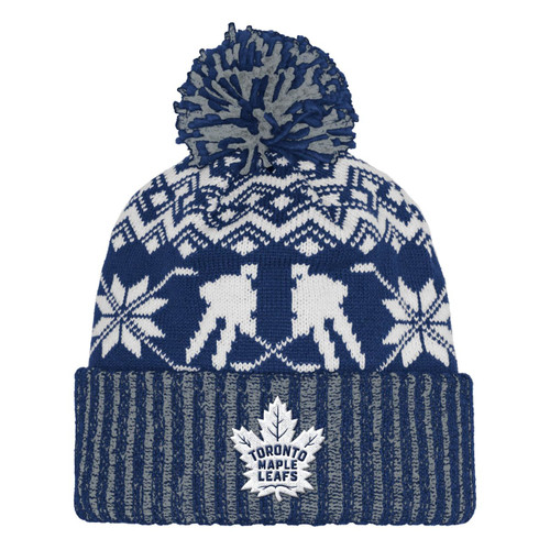 Toronto Maple Leafs adidas NHL Snowflake Player Cuffed Pom Toque knit hat