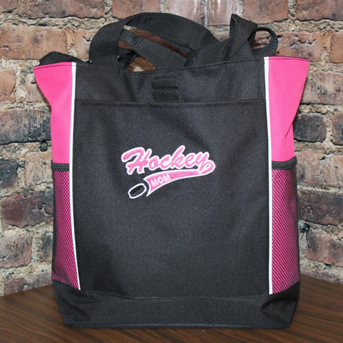 Hockey Mom tote bag with embroidered  logo and puck Hot pink